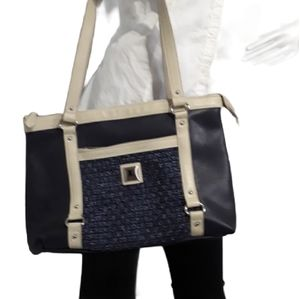 Joanel Navy Blue Bag with Front Texture Piece